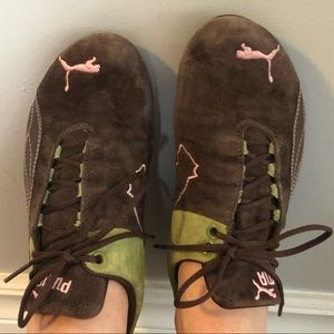Puma Future Cat brown, green & pink suede size 7